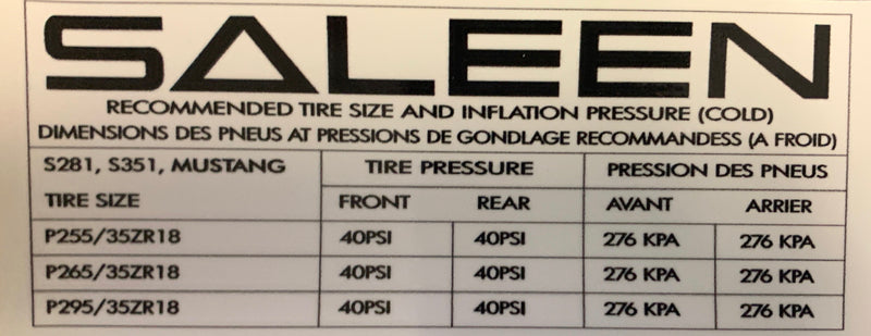Label, Saleen Tire Pressure, 99-04, S281