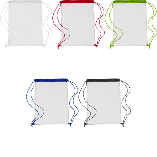 Transparent PVC drawstring bag.