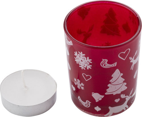 Glass candle holder with Christmas decorations