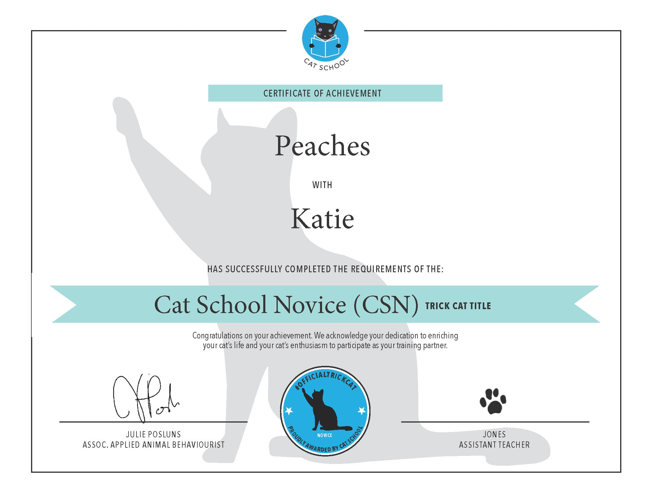 Novice Trick Cat Certification