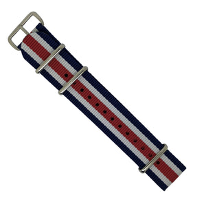 Premium Nato Strap in Regimental with Polished Silver Buckle (22mm) - Nomad Watch Works Malaysia
