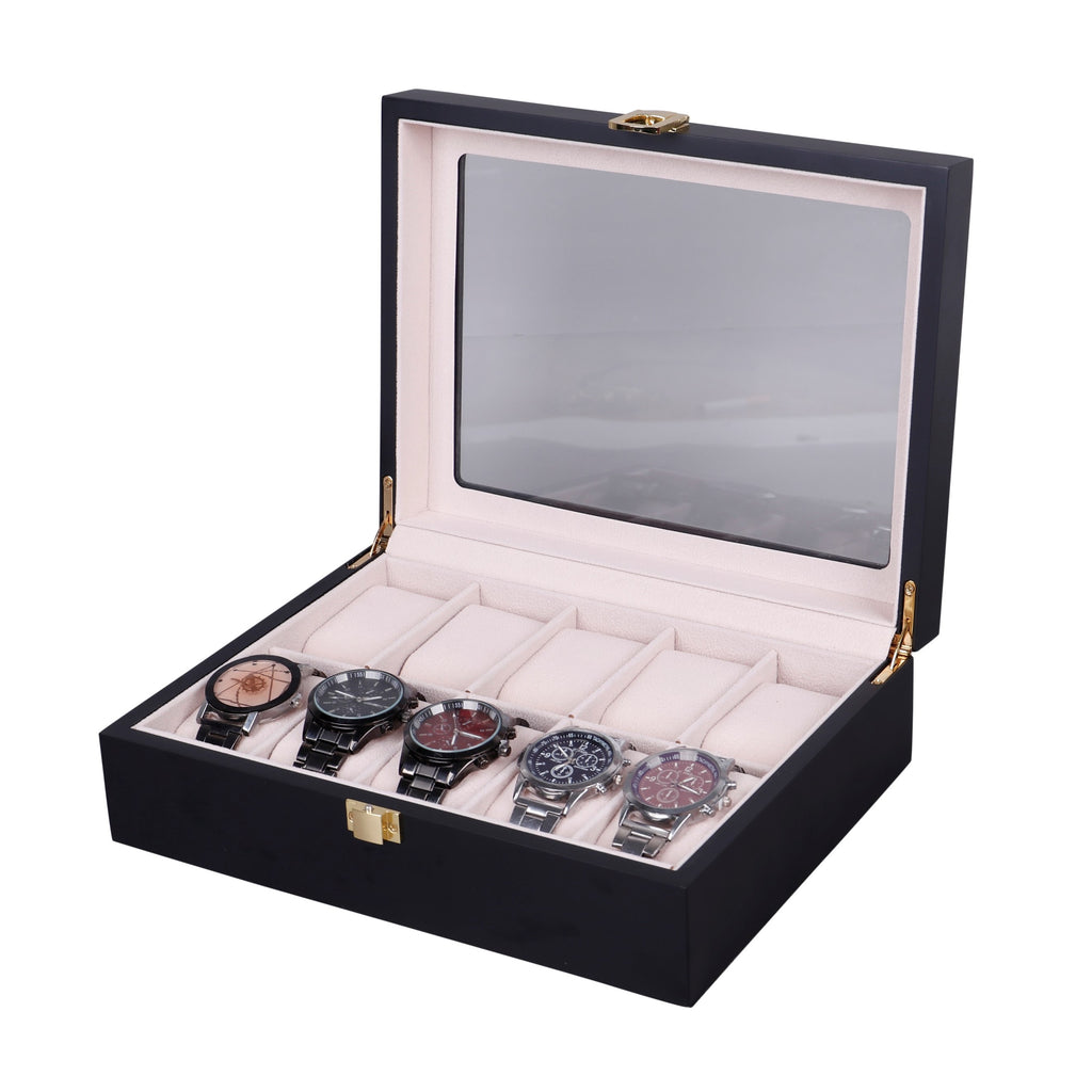 Wooden Watch Box in Black (10 Watch Slots) - Nomad Watch Works Malaysia