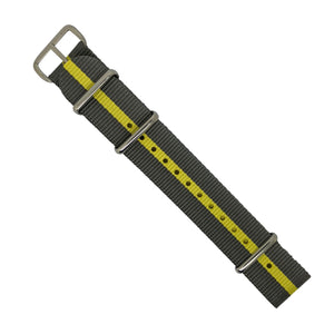 Premium Nato Strap in Grey Yellow with Polished Silver Buckle (20mm) - Nomad Watch Works Malaysia