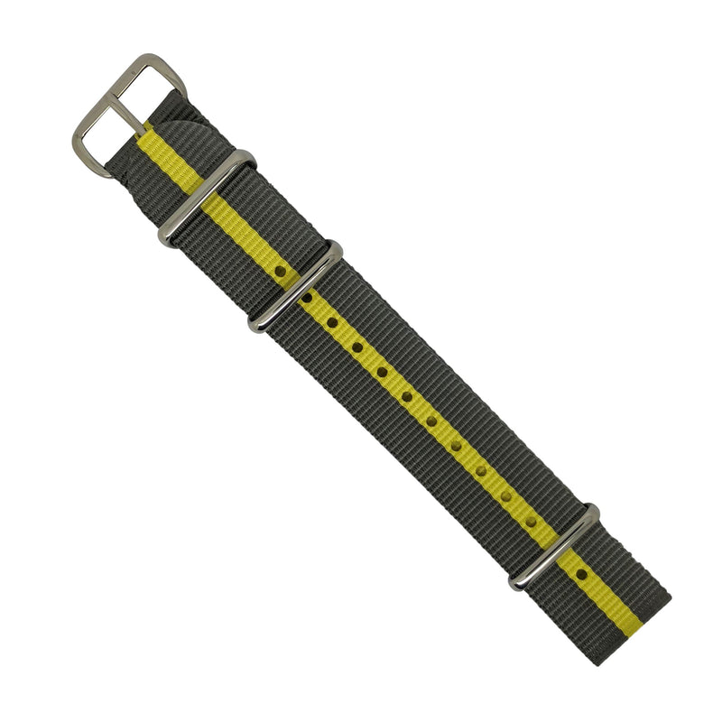 Premium Nato Strap in Grey Yellow with Polished Silver Buckle (20mm) - Nomad Watch Works MY
