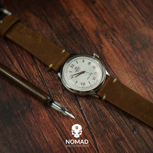 Premium Vintage Calf Leather Watch Strap in Rustic Tan (22mm) - Nomad Watch Works Malaysia