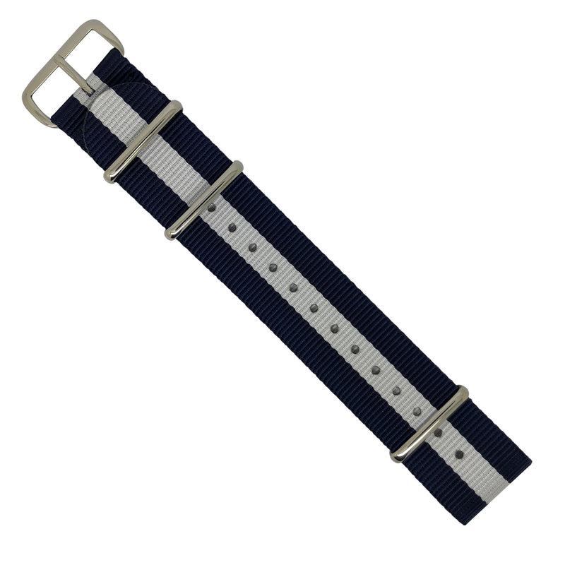 Premium Nato Strap in Navy White with Polished Silver Buckle (22mm) - Nomad Watch Works Malaysia