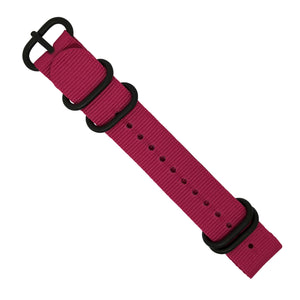 Nylon Zulu Strap in Pink with Black Buckle (18mm) - Nomad Watch Works Malaysia