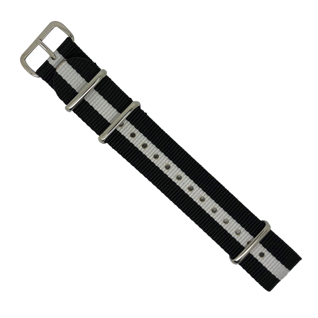 Premium Nato Strap in Black White with Polished Silver Buckle (20mm) - Nomad Watch Works Malaysia