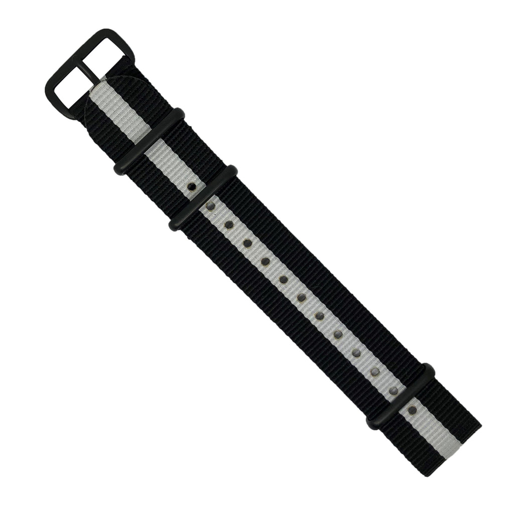 Premium Nato Strap in Black White with PVD Black Buckle (20mm) - Nomad Watch Works Malaysia