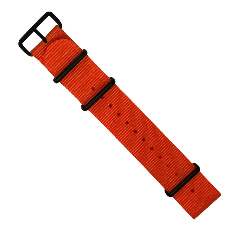 Premium Nato Strap in Orange with PVD Black Buckle (22mm) - Nomad Watch Works Malaysia