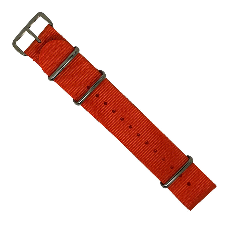 Premium Nato Strap in Orange with Polished Silver Buckle (22mm) - Nomad Watch Works MY