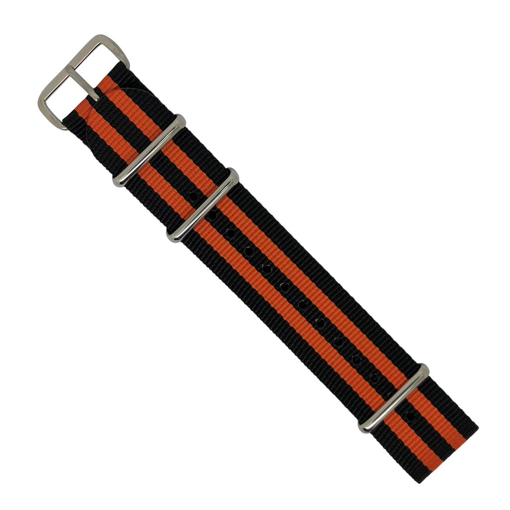 Premium Nato Strap in Black Orange Small Stripes with Polished Silver Buckle (22mm) - Nomad Watch Works Malaysia