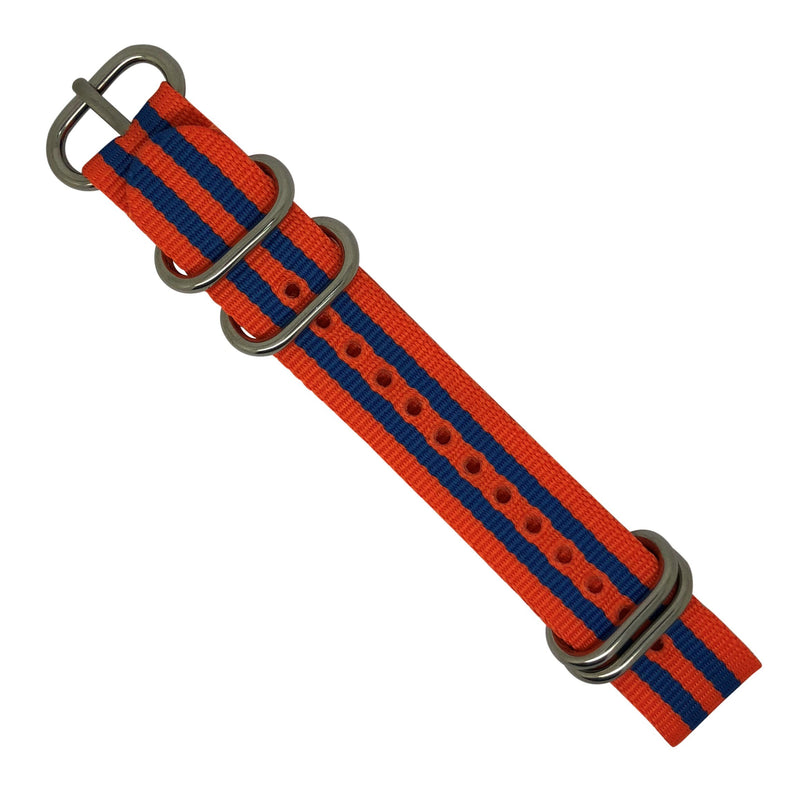 Nylon Zulu Strap in Orange Blue Small Stripes with Silver Buckle (24mm) - Nomad Watch Works Malaysia