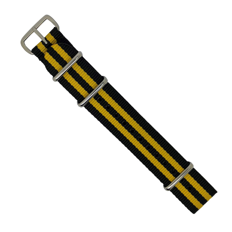 Premium Nato Strap in Black Yellow Small Stripes with Polished Silver Buckle (20mm) - Nomad Watch Works MY
