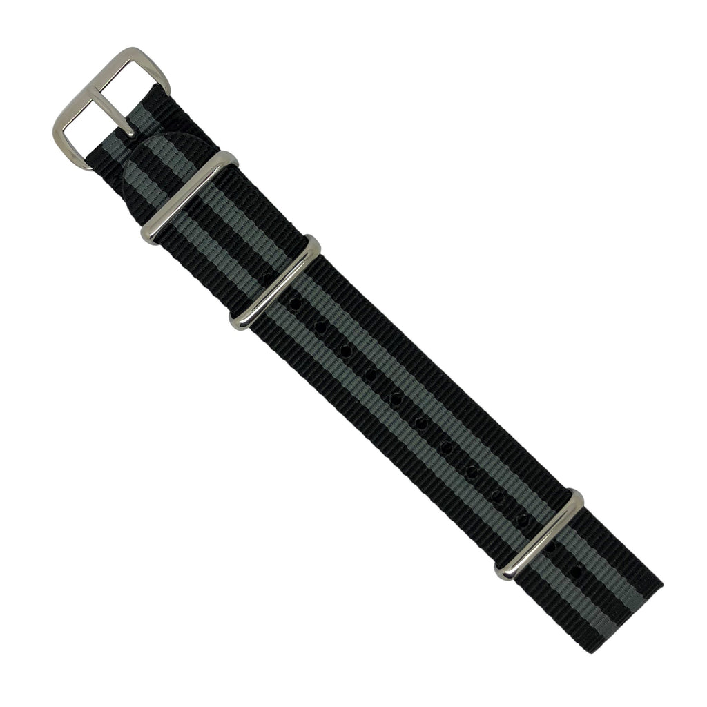 Premium Nato Strap in Black Grey (James Bond) with Polished Silver Buckle (18mm) - Nomad Watch Works Malaysia