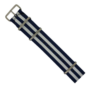 Premium Nato Strap in Navy White Small Stripes with Polished Silver Buckle (22mm) - Nomad Watch Works Malaysia