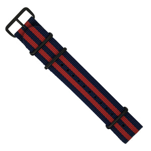 Premium Nato Strap in Navy Red Small Stripes with PVD Black Buckle (22mm) - Nomad Watch Works MY