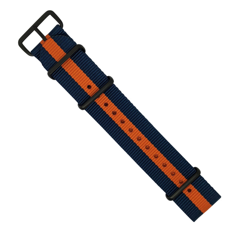 Premium Nato Strap in Navy Orange with PVD Black Buckle (22mm) - Nomad Watch Works Malaysia
