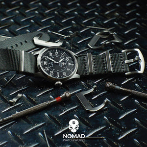 Seat Belt Nato Strap in Grey with Brushed Silver Buckle (20mm) - Nomad Watch Works MY