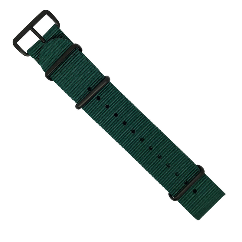 Premium Nato Strap in Forest Green with PVD Black Buckle (22mm) - Nomad Watch Works MY