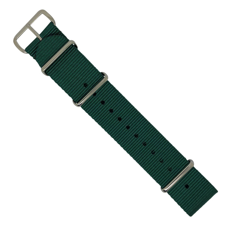 Premium Nato Strap in Forest Green with Polished Silver Buckle (22mm) - Nomad Watch Works Malaysia