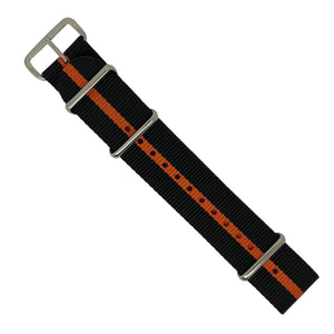 Premium Nato Strap in Black Orange with Polished Silver Buckle (22mm) - Nomad Watch Works MY