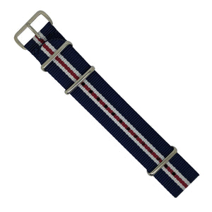 Premium Nato Strap in Navy White Red (Crest) with Polished Silver Buckle (22mm) - Nomad Watch Works MY