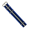 Premium Nato Strap in Blue Black White with Polished Silver Buckle (22mm) - Nomad Watch Works Malaysia