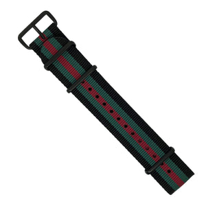 Premium Nato Strap in Black Green Red with PVD Black Buckle (22mm) - Nomad Watch Works Malaysia