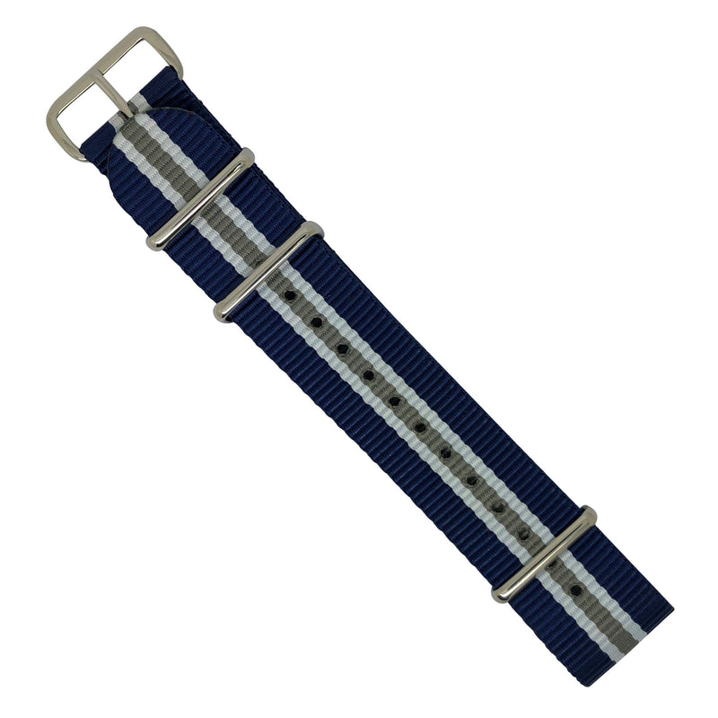 Premium Nato Strap in Navy White Grey (Crest) with Polished Silver Buckle (22mm) - Nomad Watch Works Malaysia