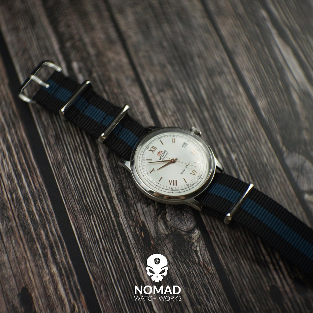 Premium Nato Strap in Black Blue with Polished Silver Buckle (20mm) - Nomad Watch Works Malaysia