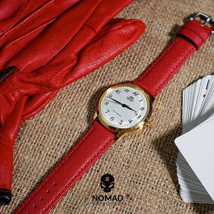 Premium Saffiano Leather Strap in Red (20mm) - Nomad Watch Works MY