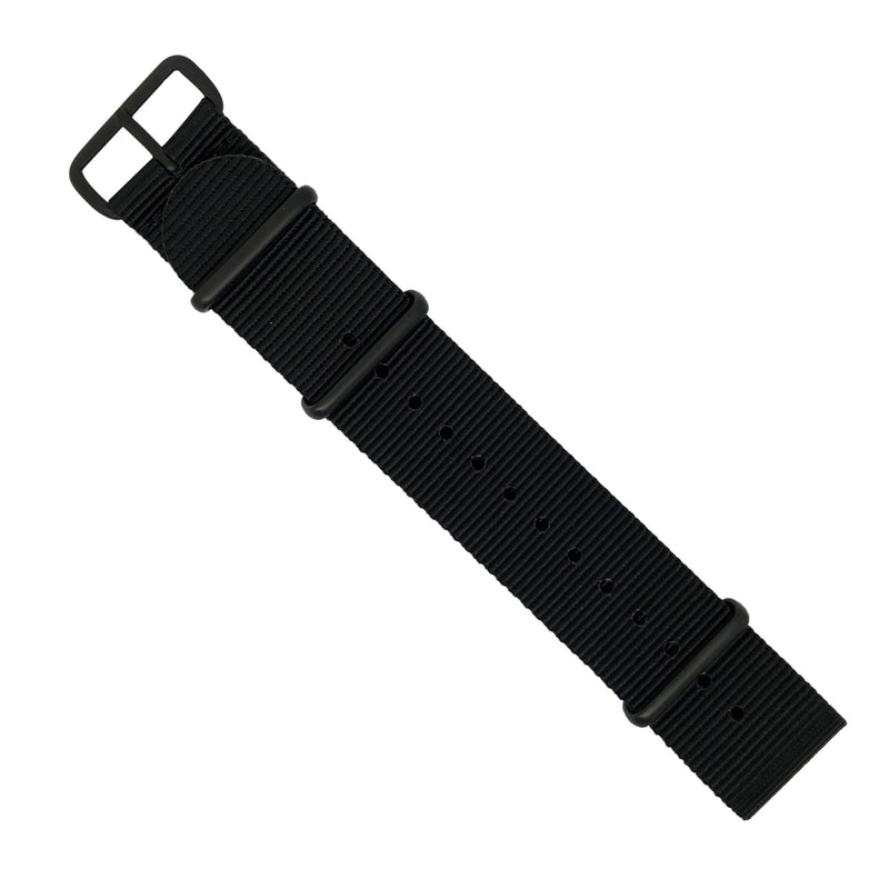 Premium Nato Strap in Black with PVD Black Buckle (24mm) - Nomad Watch Works Malaysia