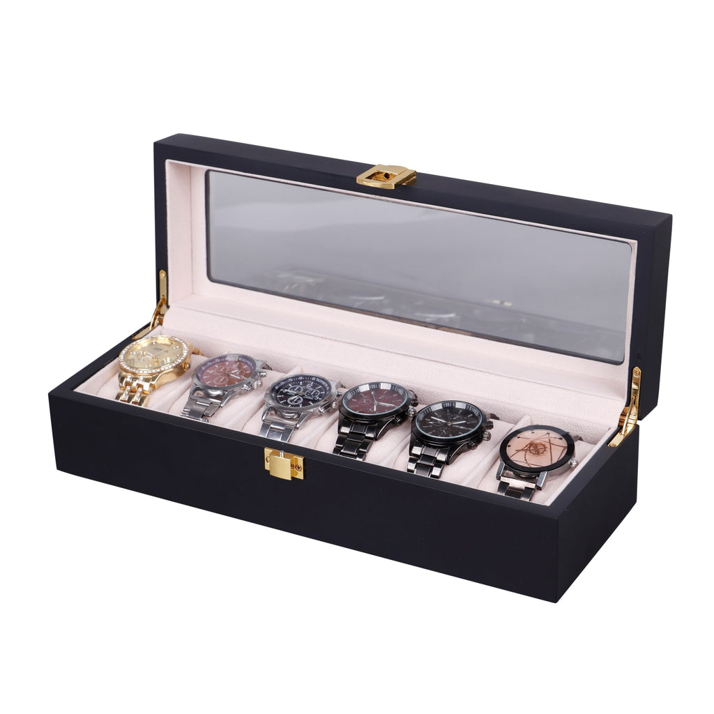 Wooden Watch Box in Black (6 Watch Slots) - Nomad Watch Works Malaysia