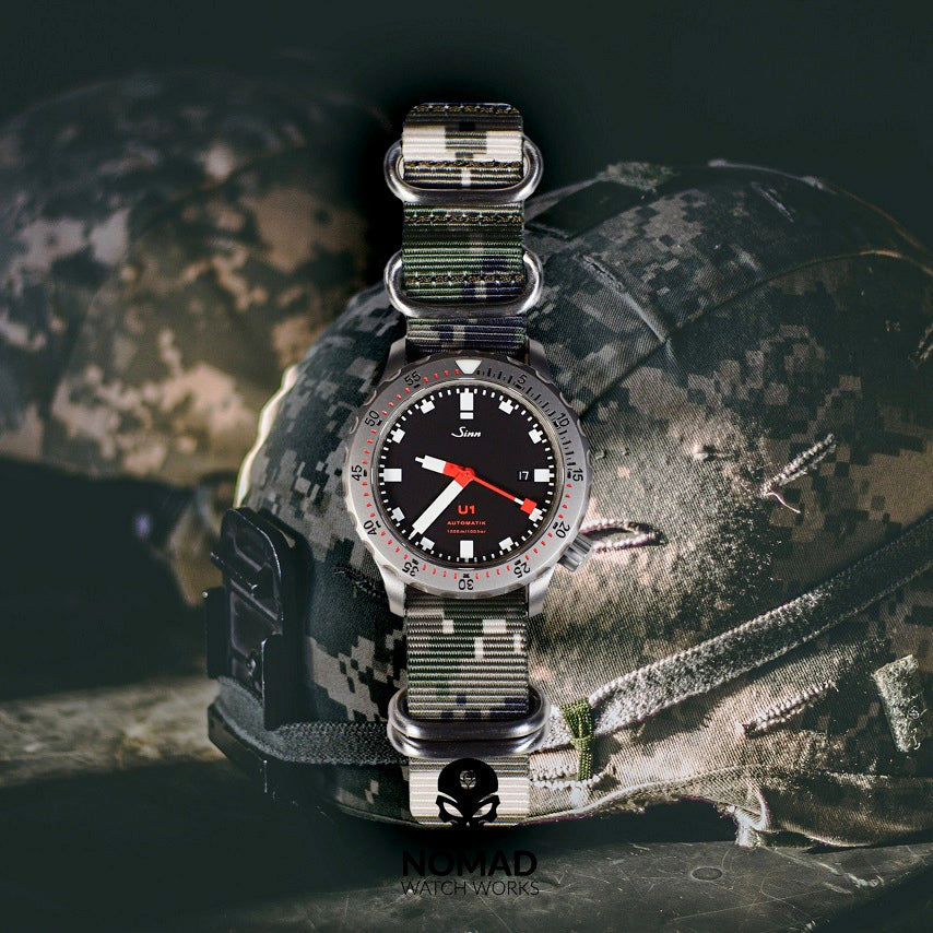 Heavy Duty Zulu Strap in Digital Camo with Silver Buckle (22mm) - Nomad Watch Works Malaysia