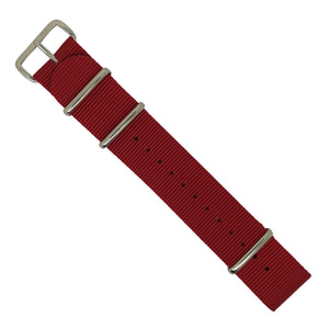 Premium Nato Strap in Red with Polished Silver Buckle (24mm) - Nomad Watch Works MY