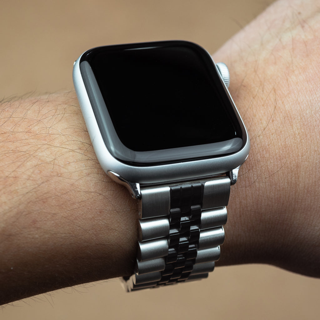 Apple Watch Jubilee Metal Strap in Silver and Black (38 & 40mm) - Nomad Watch Works MY