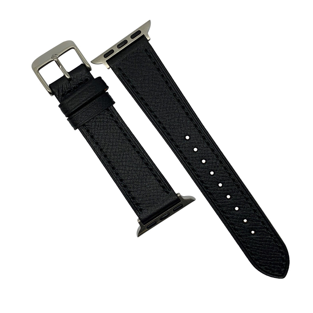 Emery Dress Epsom Leather Strap in Black w/ Silver Buckle (Apple Watch 42 & 44mm) - Nomad Watch Works Malaysia