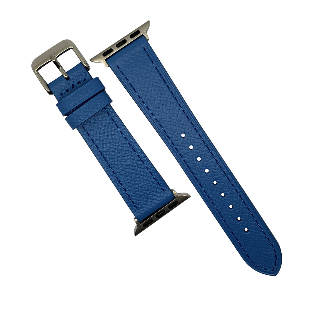 Emery Dress Epsom Leather Strap in Blue w/ Silver Buckle (Apple Watch 42 & 44mm) - Nomad Watch Works Malaysia