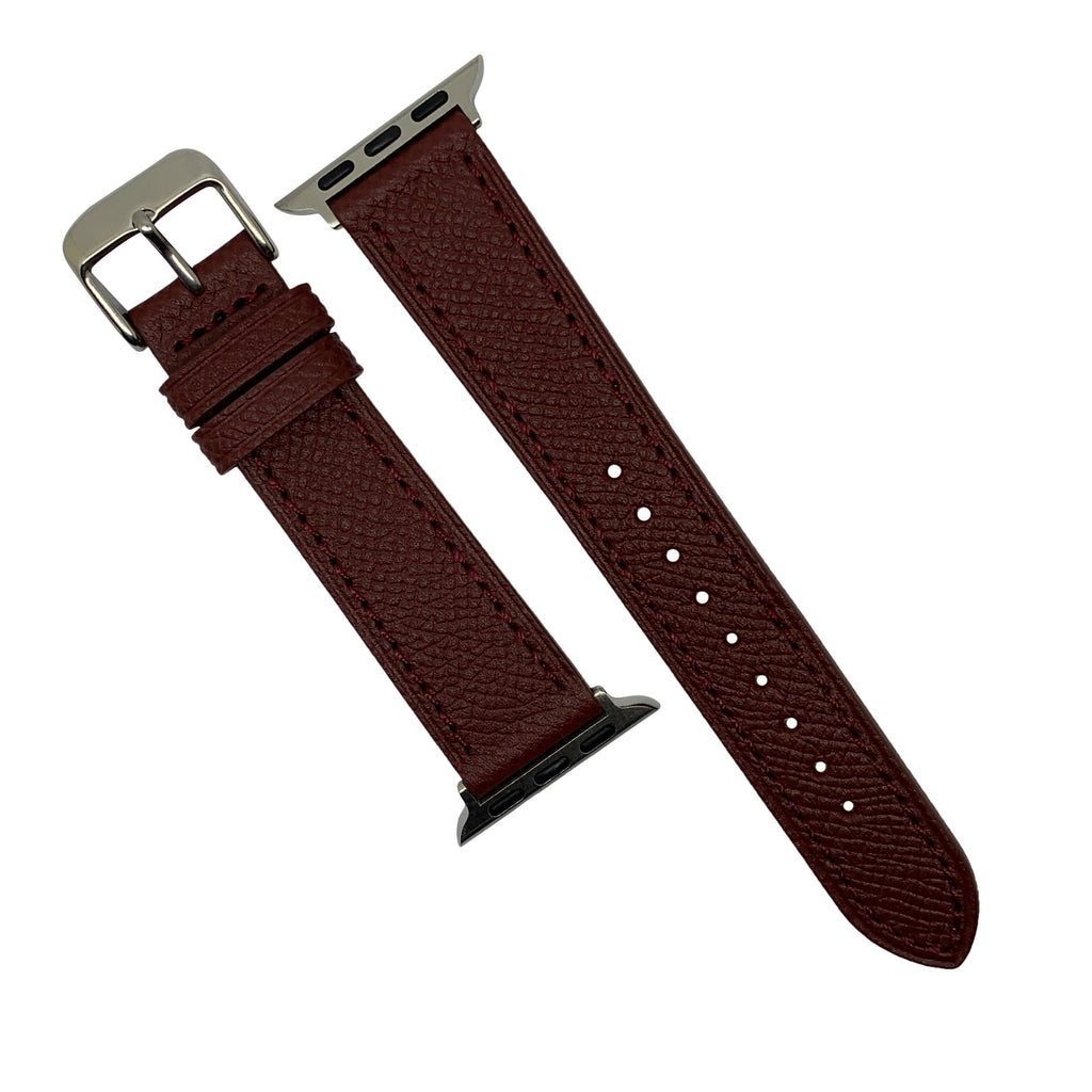 Emery Dress Epsom Leather Strap in Burgundy w/ Silver Buckle (Apple Watch 42 & 44mm) - Nomad Watch Works Malaysia