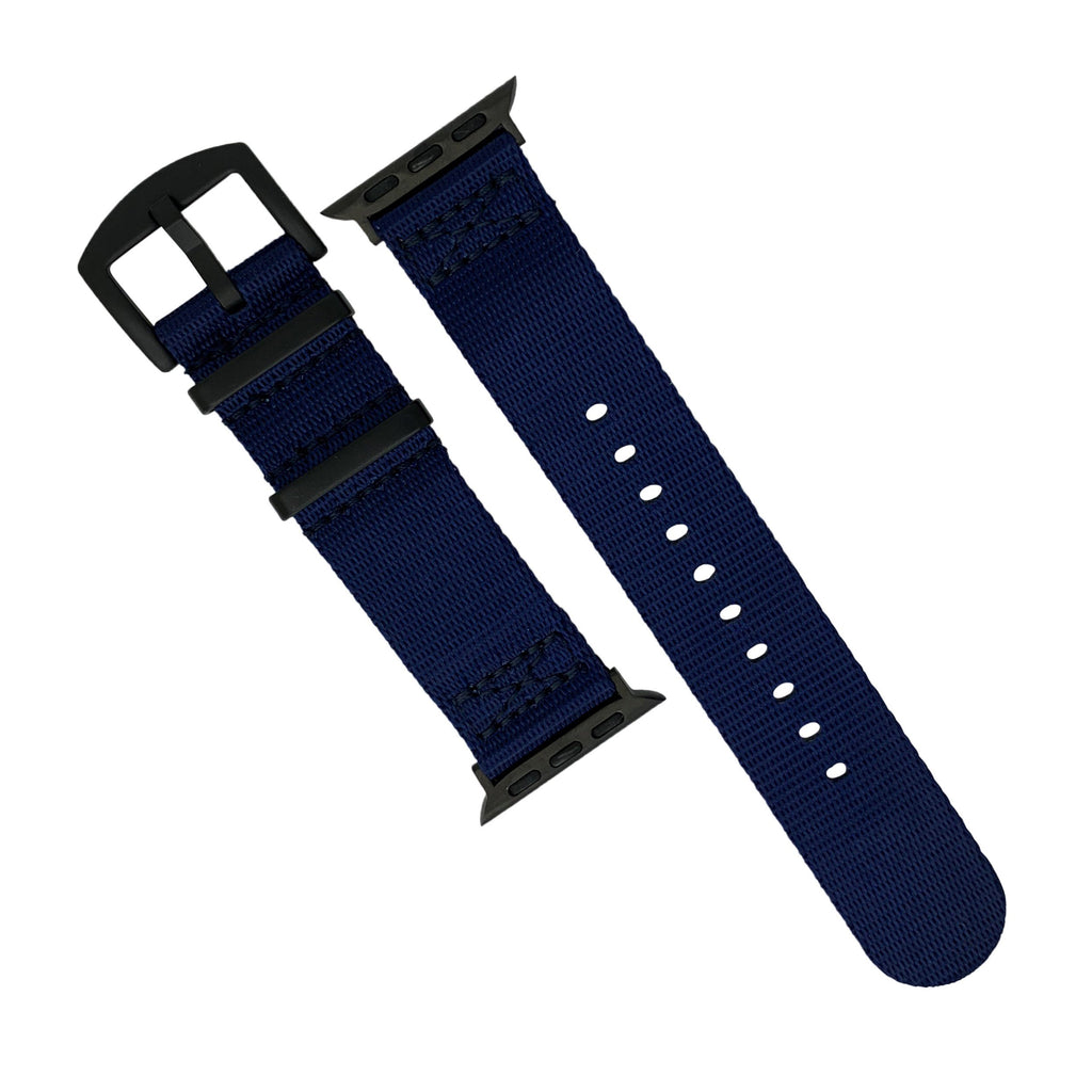 Apple Watch Seat Belt Nato Strap in Navy with Black Buckle (42 & 44mm) - Nomad Watch Works Malaysia