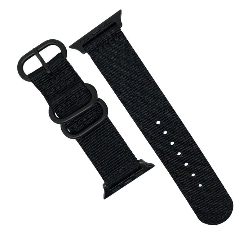 Apple Watch Nylon Zulu Strap in Black with Black Buckle (42 & 44mm) - Nomad Watch Works Malaysia