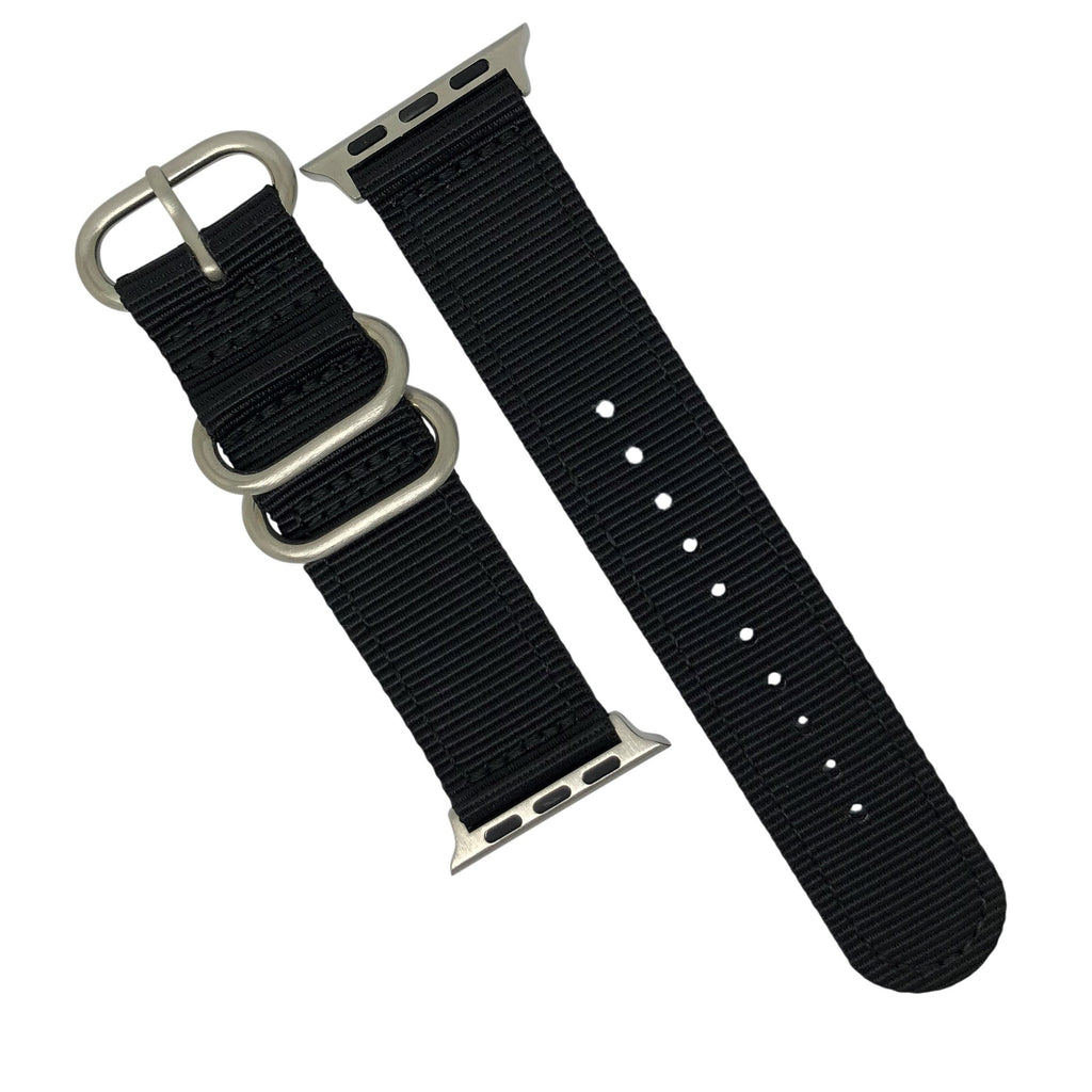 Apple Watch Nylon Zulu Strap in Black with Silver Buckle (42 & 44mm) - Nomad Watch Works Malaysia