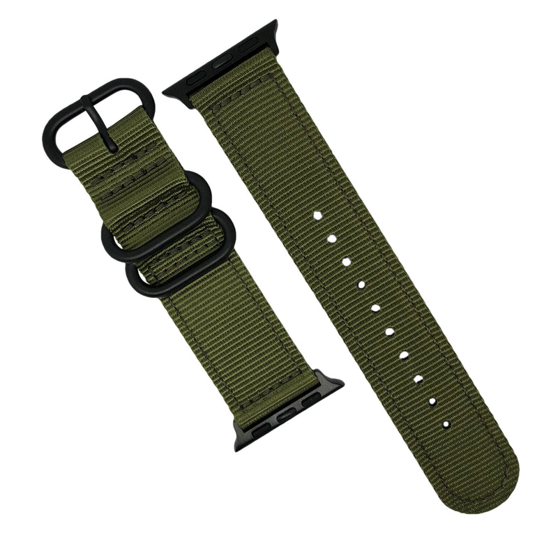 Apple Watch Nylon Zulu Strap in Olive with Black Buckle (38 & 40mm) - Nomad Watch Works MY
