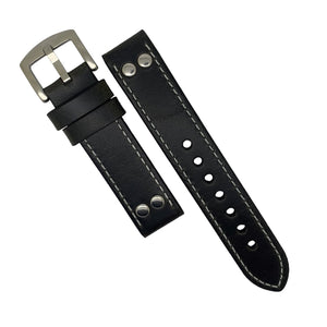 Premium Pilot Oil Waxed Leather Watch Strap in Black (20mm) - Nomad Watch Works Malaysia