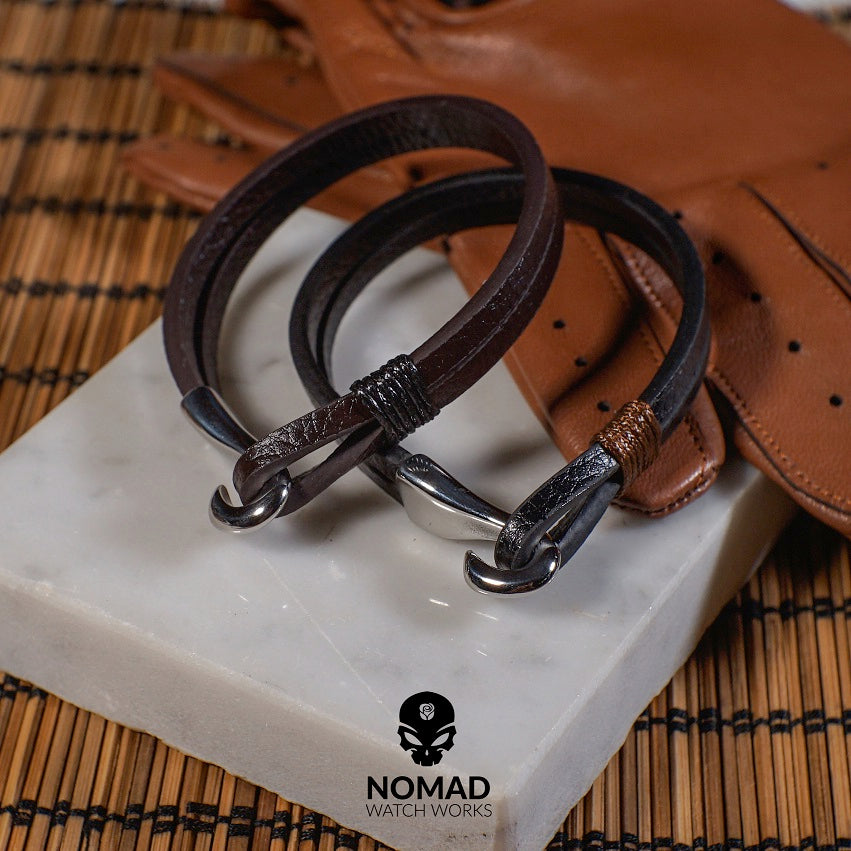 Lincoln Leather Bracelet in Brown (Size L) - Nomad Watch Works Malaysia