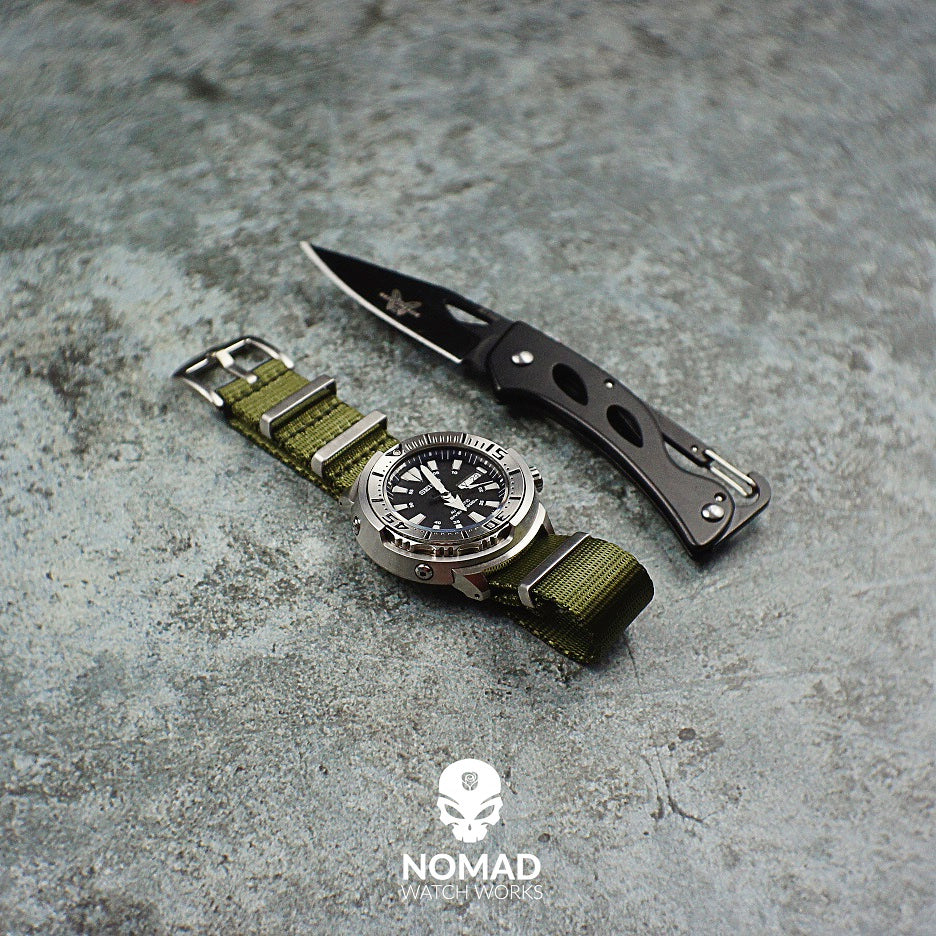 Seat Belt Nato Strap in Olive with Brushed Silver Buckle (20mm) - Nomad Watch Works Malaysia