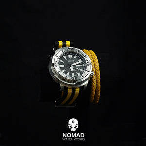 Premium Nato Strap in Black Yellow Small Stripes with Polished Silver Buckle (20mm) - Nomad Watch Works Malaysia