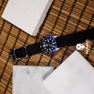 Two Piece Heavy Duty Zulu Strap in Black with PVD Black Buckle (20mm) - Nomad Watch Works Malaysia