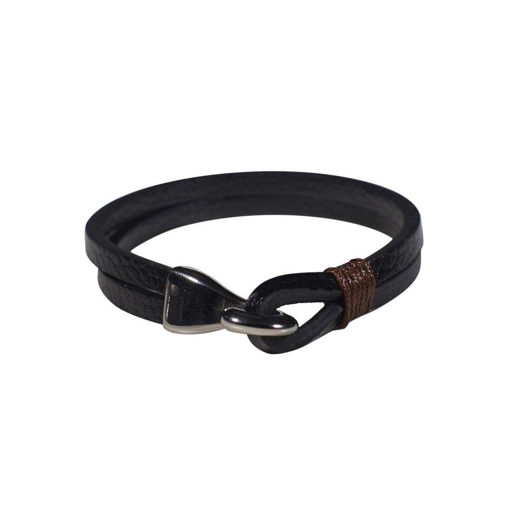 Lincoln Leather Bracelet in Black (Size L) - Nomad Watch Works Malaysia